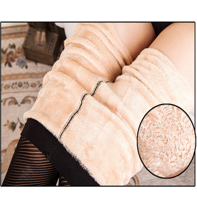Free shipping Stripe thickening fail wool double jacquard warm trousers Seamless leggings flannelette nine points on foot