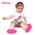 2017 Summer Style Baby Girls Clothes Cotton Short Sleeve Leopard Bodysuit + Shorts + Headband Ruffles Newborns Girl Clothing Set