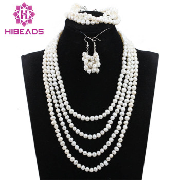 Elegant Events Pearl Jewelry Set African Freshwater White Pearl Necklace Set Necklace Earrings Bracelet Set Free Shipping ANJ341