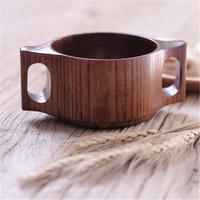 Japanese Double Handled Wood Cup Coffee Retro Water Cup Mug Milk Fincan Simple Eco Friendly Wooden Teacup Personalized DDBXY61