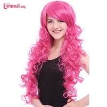 L email Peluca de pelo sintético resistente al calor, peluca de pelo rosa de 80cm, Cosplay, Little Pony