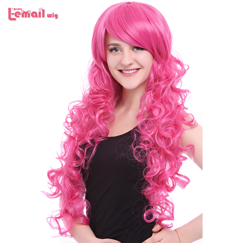 L email wig Brand New 80cm Pink Cosplay Wigs Little Pony Heat Resistant Synthetic Hair Perucas Cosplay WigSynthetic None-Lace  Wigs   -