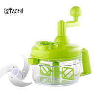 LSTACHi Kitchen Manual Cutting Machine Hand cranked Meat Pepper Grinder Vegetable Slicer Machine with Stainless Steel Blade