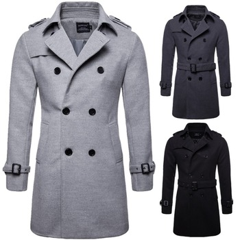 High quality men autumn winter wool coat double breasted worsted long trench coat big size overcoat mens casual windbreaker