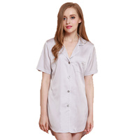 Women's Sleep Tops Free Shipping 2016 New Design Female Nightwear Wholesale Price Silk Satin Ladies Short Sleeve Sleepwear Hot