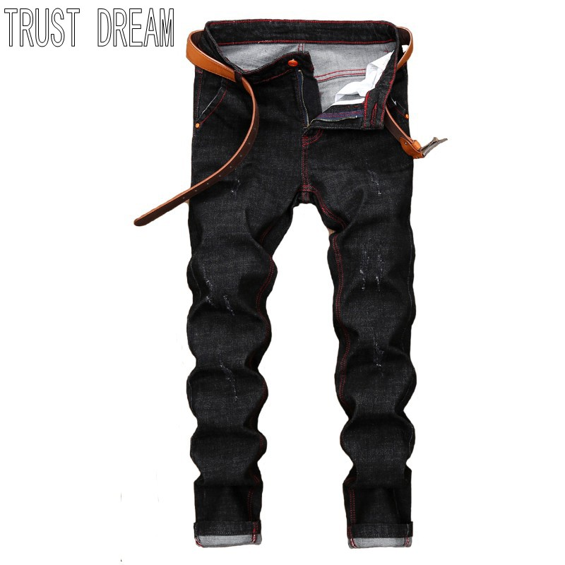 TRUST DREAM Europeans Designed Men Distressed Slim Black Jean Red Sewing Casual Man Fashion Street Personal Jeans l jean camp trust