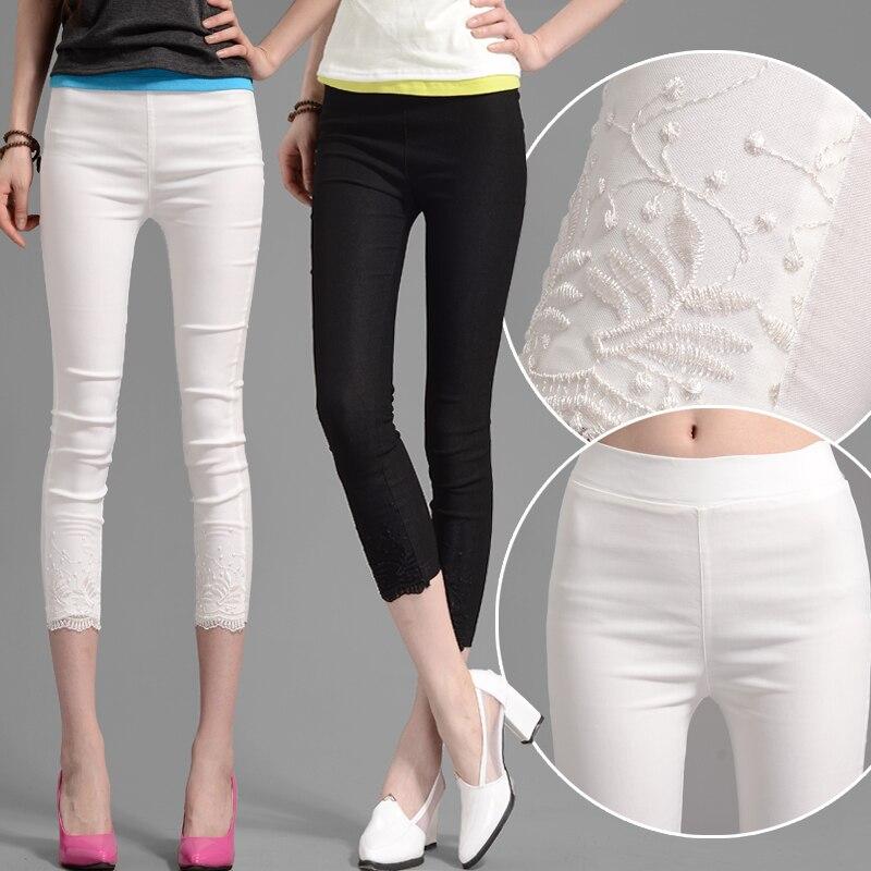 Summer   Leggings   Women Lace Embroidery 3/4 Mid-Calf Length Stretchy   Leggings   Elastic Waist Black White Plus Size S-4XL B93091