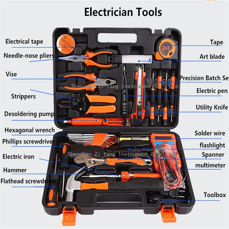 Electrical Toolbox Manually Household Tool Kit Wrench Screwdriver Multimeter Soldering Iron Sets