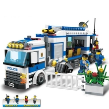 Building block model police educational toy 10424 compatible brick Legoing mobile police station 60047 bela 10424 urban city police police guard building block toys compatible with 60047