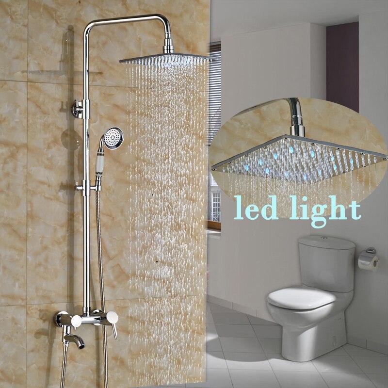 Chrome Brass 10 LED Light Showerhead Bathroom Shower Set Mixer Faucet Bath Shower Faucet with Handshower