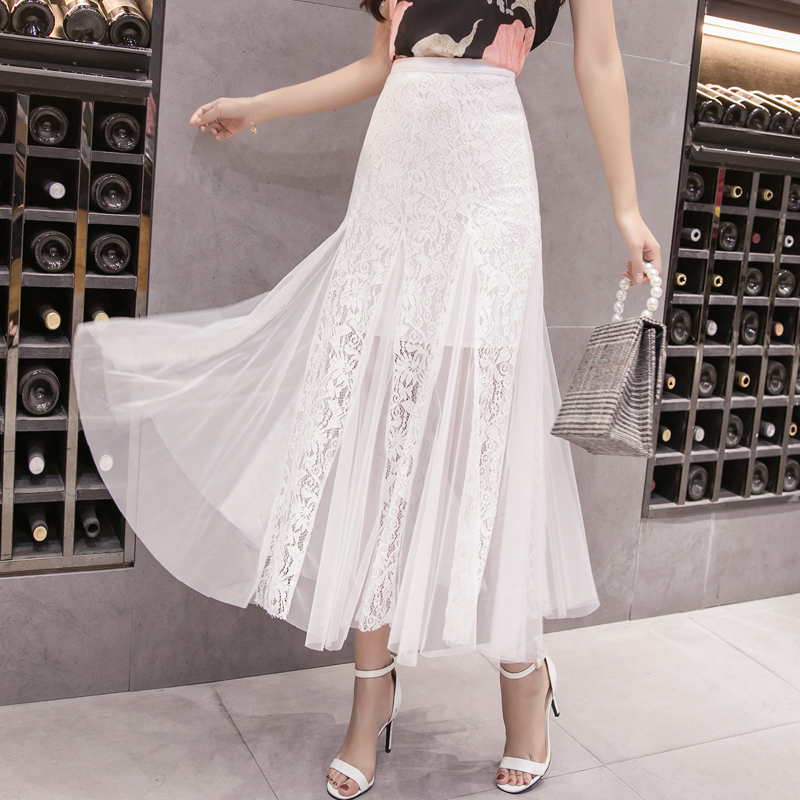 Mesh Long Skirts 2019 Summer New A-line Mermaid Solid White Black See Through Office Lady Work Skirts Top Quality
