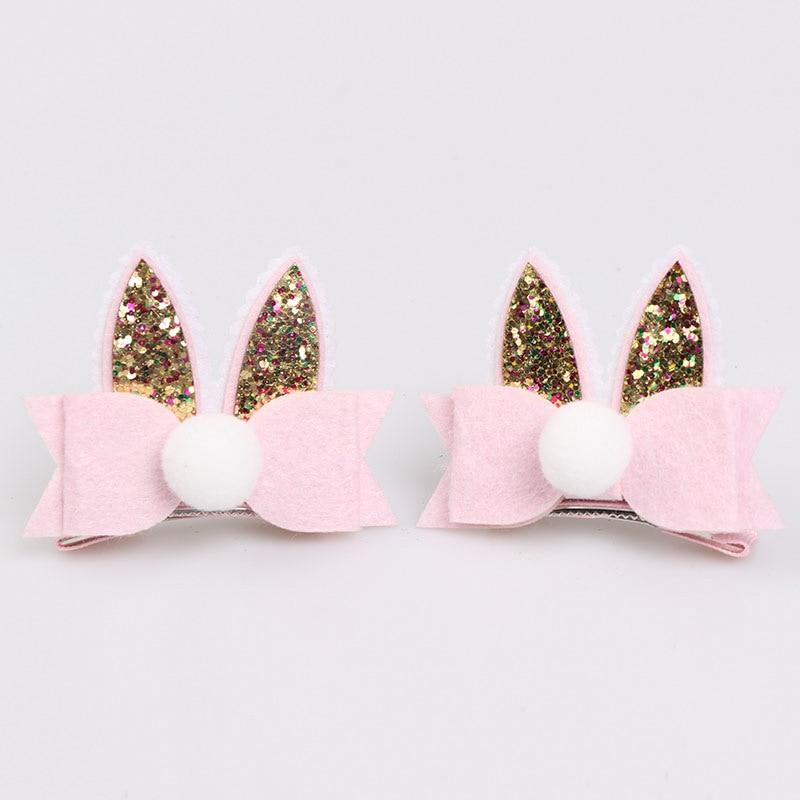 "Handmade pink glitter fur bunny ears baby//girls 3/"" hair clip Easter spring photo"