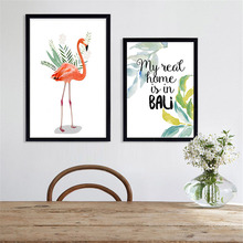 HAOCHU Nordic Creative Fresh Flamingo Animal Writing Letters Living Room Bedroom Murals Wall Pictures Decorative Painting Poster