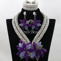 2016 Stylish African Crystal Beads Jewelry Set Silver/Purple/Lilac Nigerian African Wedding Bridal Necklace Jewelry Set ALJ226