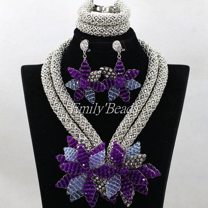 2016 стильные африканские хрустальные бусины комплект ювелирных изделий Серебро/Фиолетовый/сиреневый Нигерийский Африканский Свадебный ожерелье набор ювелирных изделий ALJ226