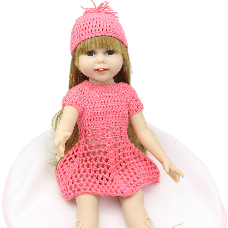 New 18'' full vinyl american baby girl doll toys fashion princess girls dolls kids birthday gift bauer bauer s17 vapor x500 взрослые размер 48