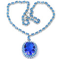 Big Gemstone 30x20mm Swiss Blue Topaz Created SheCrown Woman's Engagement   Silver Necklace 18inch 56x30mm