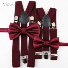 Красивые комплекты с галстуком-бабочкой на подтяжках мужская, женская, для мальчиков и девочек, детская рубашка для вечеринки, свадьбы, Y-Back Пояс с бабочками на подтяжках, штаны с галстуком-бабочкой, джинсы