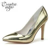 Creativesugar с острым носком металлик Золотой Серебряный из лакированной кожи на высоком каблуке женские модельные туфли вечерние коктейльные т...