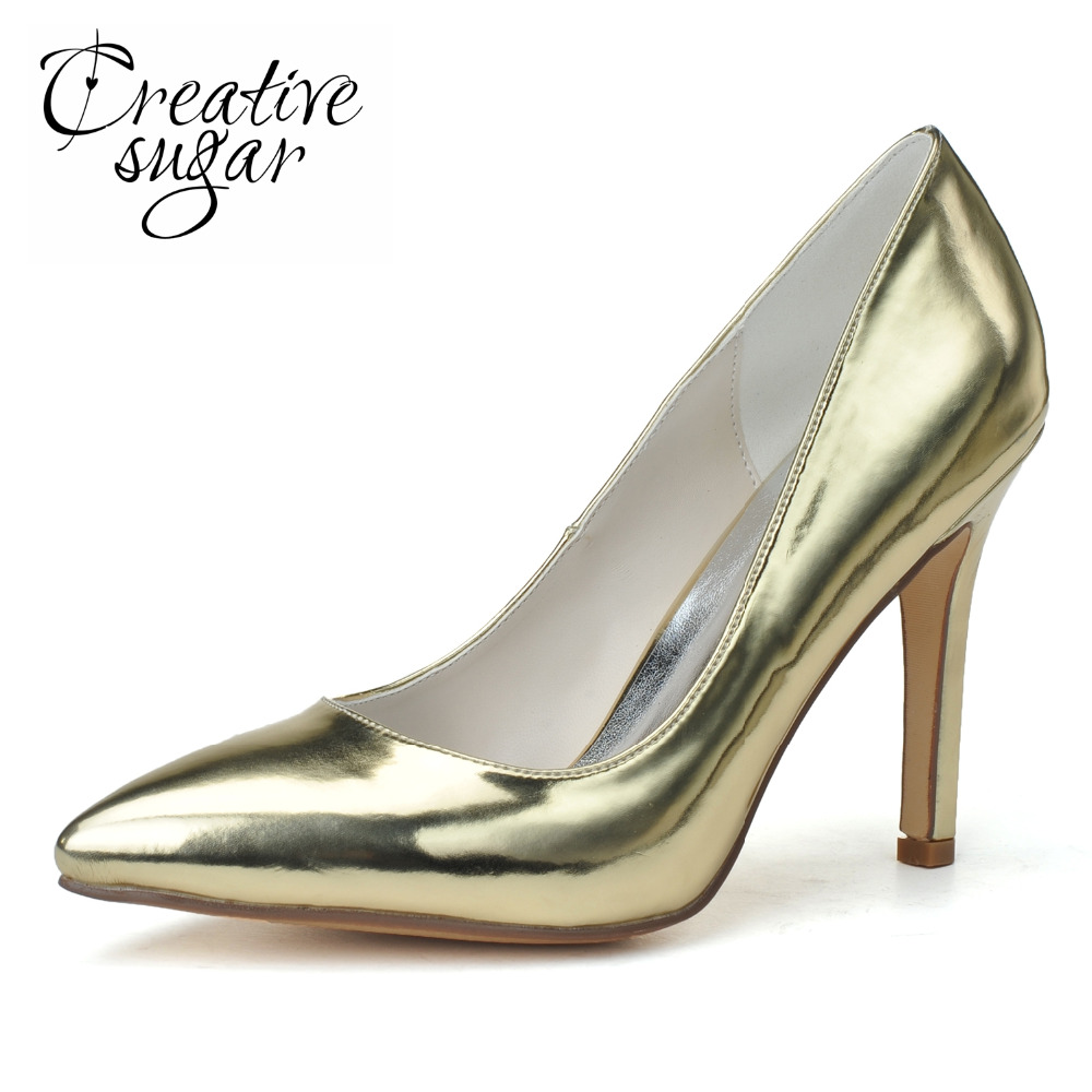 Creativesugar pointed toe metallic gold silver patent leather women's high-heeled dress shoes party prom cocktail pumps slip on creativesugar patent leather stiletto sandals metallic gold silver royal blue high heels platform sandals for party fashion show