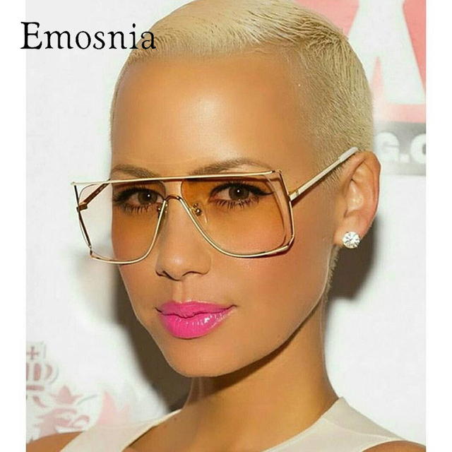 b379440584 Emosnia Rimless Gold Clear Sunglasses Women Men 2017 Brand Designer Aviator  Sunglass Big Frame Sun Glasses Lunette Femme Oculos