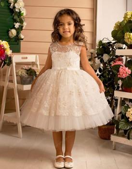 New Knee Length Lace Tulle Flower Girl Dress For Wedding Customized Puffy Girls Pageant Gowns Keyhole Back New Arrivals Vestido