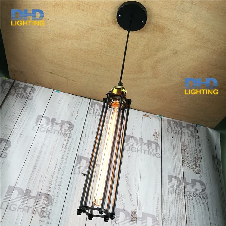 ФОТО (10pcs)wholesale price D80mmxH300mm black iron long cage industrial pendant lamp vintage brass socket lighting fixtures for home