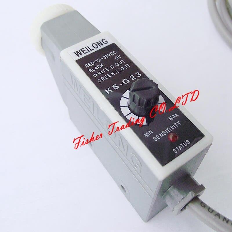 Weilong couleur suivant capteur KS-G22 KS-G23 pour machines à emballer, sac faisant le commutateur photoélectrique avec lampe LED verte-spot