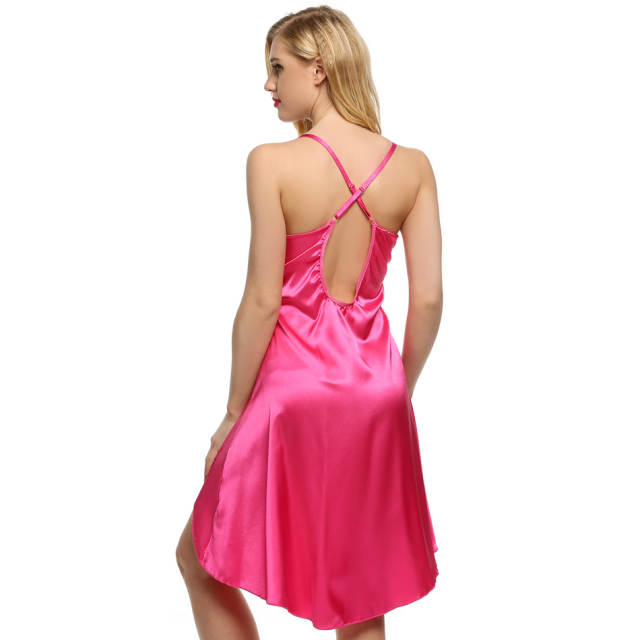 1ebf2a464 Ekouaer Ladies Sexy Satin Night Dress Lace Women Sleepwear Sleeveless  Nighties V-Neck Nightdress Sexy