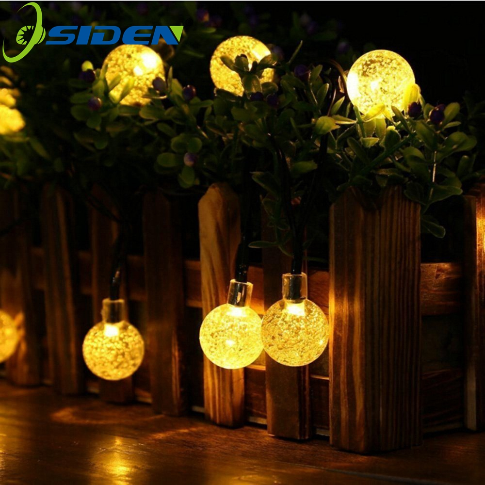 OSIDEN Solar Led String 8M 60Led Crystal Ball Globe luz Waterproof Warm White Fairy Light Garden Decoration Outdoor Solar Lamp