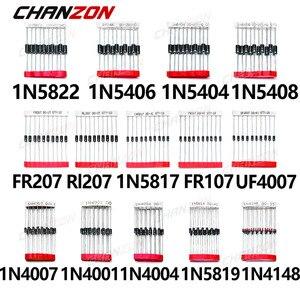 200pcs Fast Switching Schottky Diode Assorted Kit 1N4001 1N4004 1N4007 1N5408 UF4007 FR207 1N5817 1N5819 1N5822 1N4148 RL207