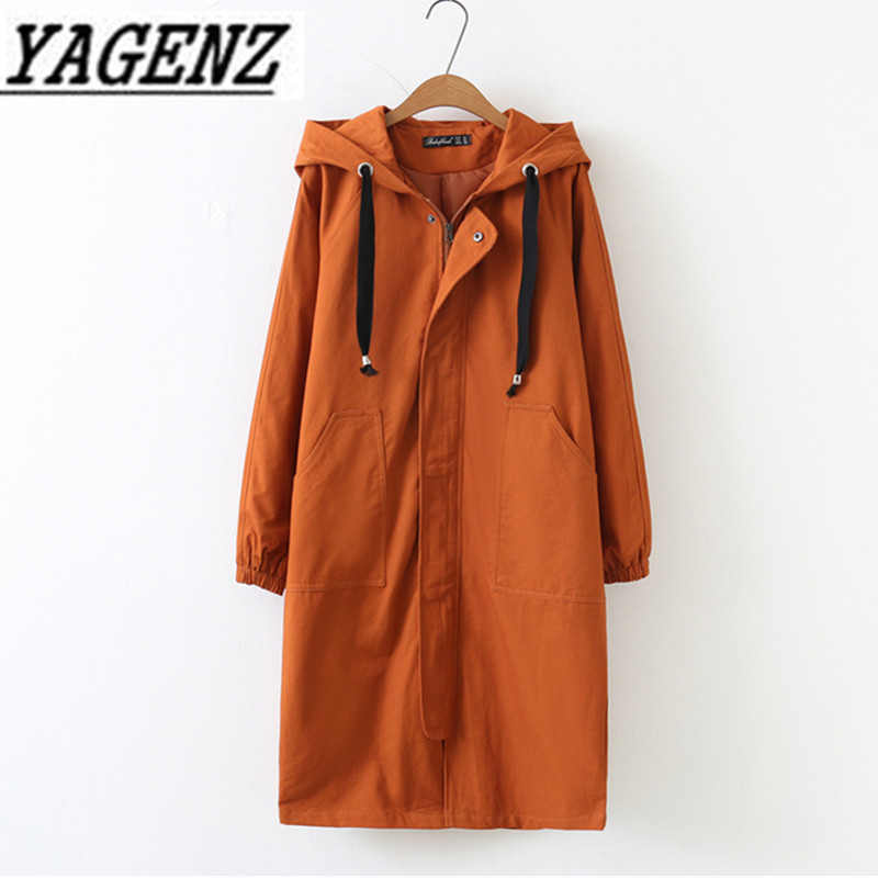 Oversized 2018 Spring Autumn Women's Windbreaker Hooded Coats Han Loose Long Sleeve Long Outerwear Casual Female Trench Coat 4XL(China)