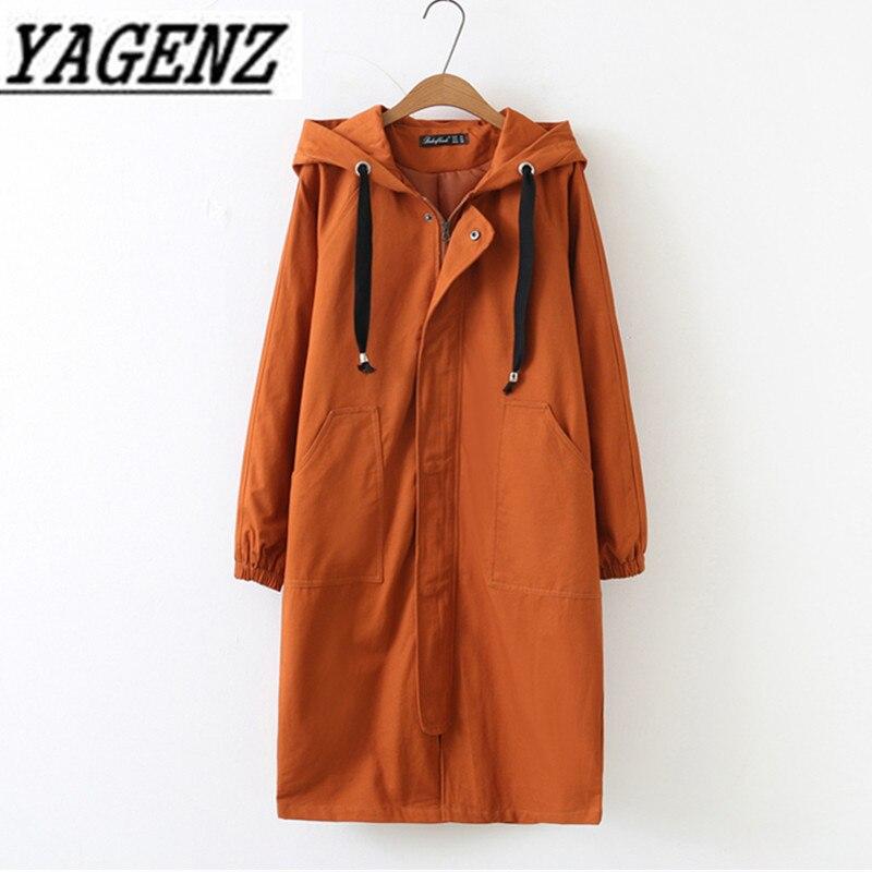 Oversized 2019 Spring Autumn Women's Windbreaker Hooded Coats Han Loose Long Sleeve Long Outerwear Casual Female   Trench   Coat 4XL