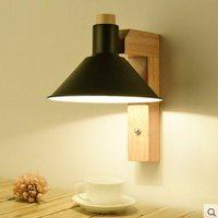 Simples lâmpada de parede de madeira quarto lâmpada cabeceira ferro forjado ajustável interior led sala jantar estudo corredor varanda mx4221425