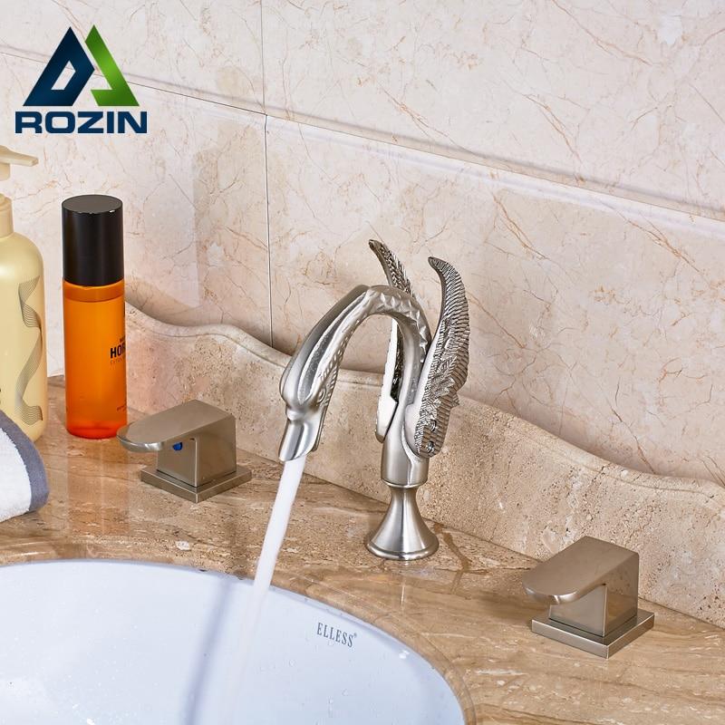 Swan Style Bathroom Dual Handle Basin Mixer Faucet Creative Design Dual Handle Washbasin Faucet Widespread 3 holes gold finsh swan handle widespread bathroom basin faucet dual mixer tap