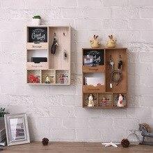 Estante de almacenamiento de madera, gancho de tres capas, decoración colgante de pared, soporte para diversos artículos, soporte para llaves de sala de estar, caja de porche para vestíbulo de cocina