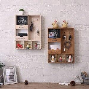 Image 1 - Wood Storage Rack three Layer Hook Hanging Wall Decoration Sundries Holder Living Room Keys Holder Kitchen Vestibule Porch Box