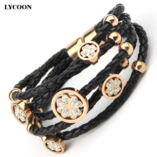 Fashion Titanium steel Leather bangles bracelets megnet crystal four leaves braided leather for woman bracelets vintage design