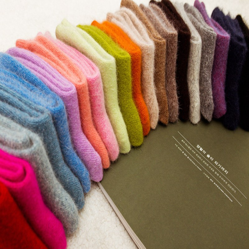 5 Pairs Womens 100% Angora Rabbit Wool   Socks   Ladies Comfort Pure Color Winter Thickening Soft Warm Wool   Sock   LTT9784