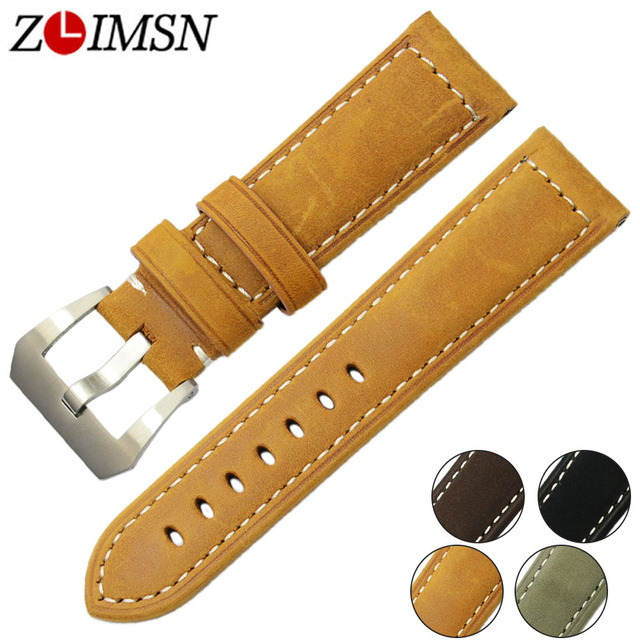 ZLIMSN Men Genuine Leather Watch Band Accessories 22mm Watches Strap Suitable for Panerai Watch Strap 24mm Watchband Pin Buckle