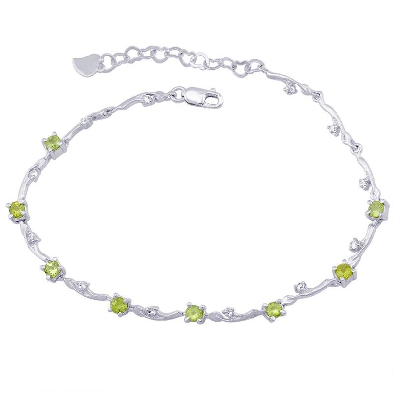 Péridot naturel Bracelet 925 en argent Sterling femme Fine élégante gemme verte mince bijoux fille pierre de naissance saint-valentin cadeau sb0012p
