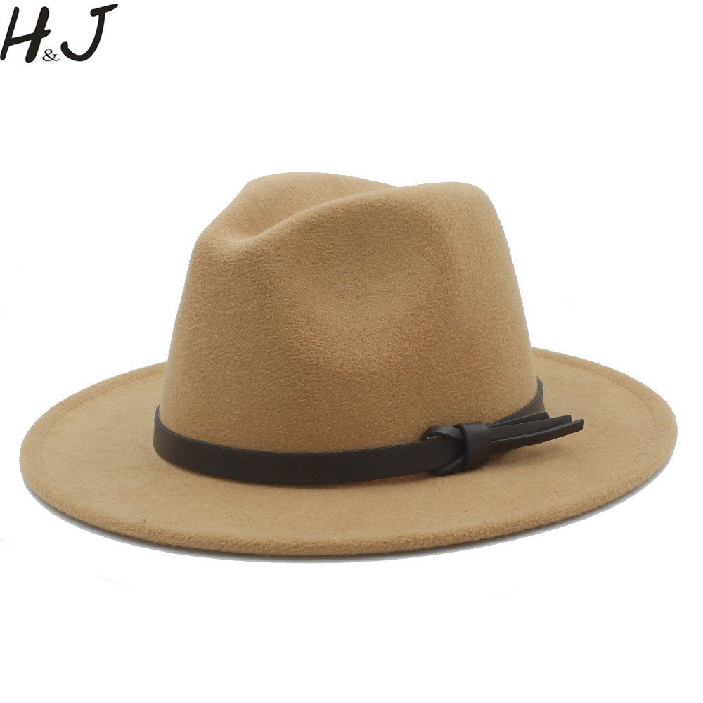 a07d4689b25dcf Women Men Wool Fedora Hat With Leather Ribbon Gentleman Elegant Lady Winter  Autumn Wide Brim Jazz