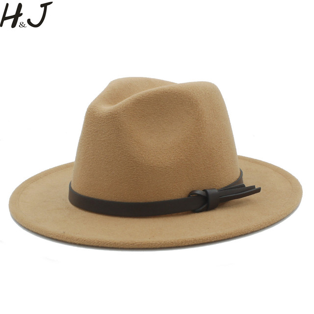 5335f721a51 Women Men Wool Fedora Hat With Leather Ribbon Gentleman Elegant Lady Winter  Autumn Wide Brim Jazz Church Panama Sombrero Cap