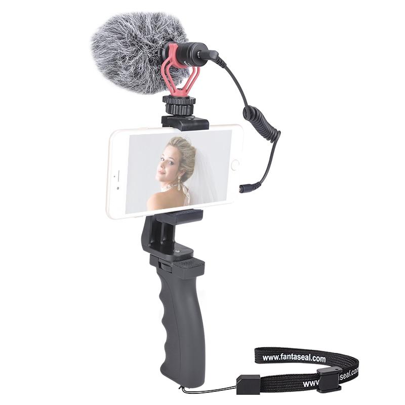 Smartphone enregistrement vidéo enregistrement Mini Microphone + Kit de stabilisateur de prise en main pour iPhone Android Xiaomi Huawei Samsung téléphone portable