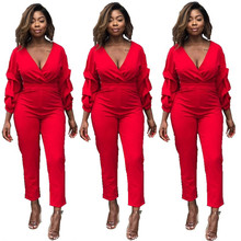 2019 New V-neck European And American Fashion Women's Long-sleeved Piles Of Sleeves Jumpsuits In Stock Jumpsuits, Playsuits plugging of closed and open ended pipe piles in sands