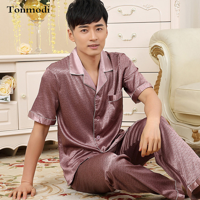 Mens Pyjamas Summer Pajamas Short-sleeve Luxury Silk Thin Pants Men Lounge  Pajama Sets Plus 52d33c04a