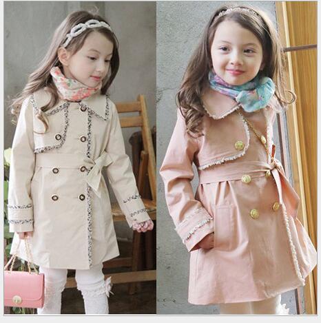 2016 Nueva Primavera Otoño Niñas Gabardina Larga Estilo Lindo Arco Niñas Abrigos Niños prendas de Vestir Exteriores de Ropa para Niños de 3-9 Años