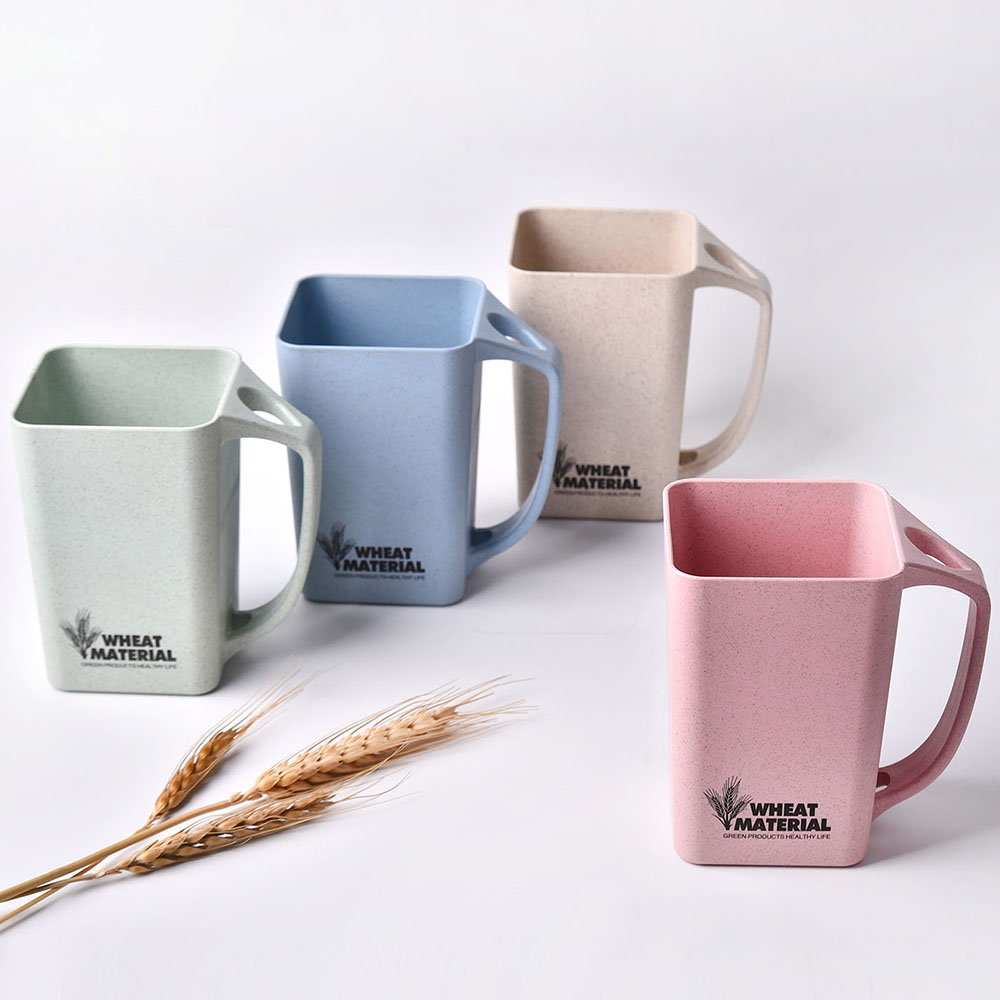 Reusable Square Wheat Straw Plastic Cup For Coffee Milk