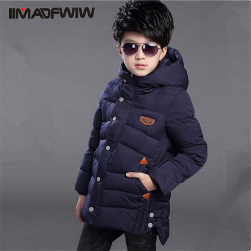ФОТО 2016 Boys Cotton-padded Jacket Winter Coat Outerwear Parkas Fashion Hooded Long Wadded Jackets For 4-14T Children High Quality