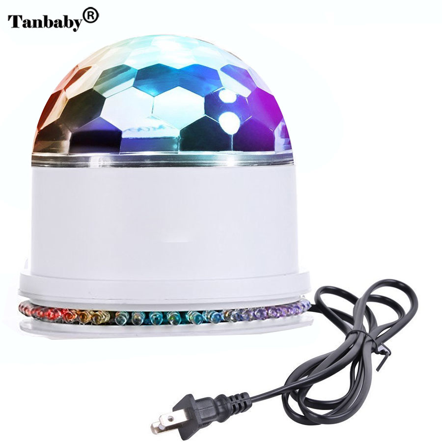 Tanbaby 48 LED RGB Stage Light Sound Actived Auto RGB Mini Rotating Magic Disco Ball Strobe PAR Party Lights For DJ Dancing Show